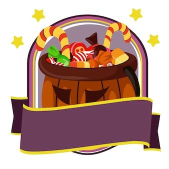 Halloween-abzeichen mit süßigkeiten und leckereien