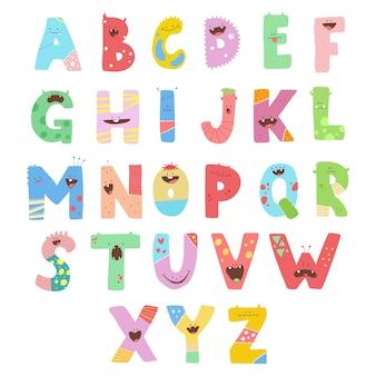 Halloween alphabet. schrift mit niedlichen monstern gesicht vektor zeichen.