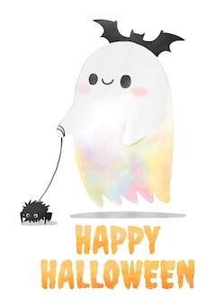 Halloween, aquarell-geist, der die spinne geht.