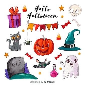 Halloween-aquarellelementansammlung