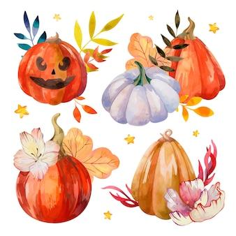 Halloween-aquarellset mit lebendigen kürbissen