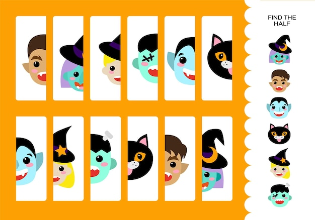 Halloween-arbeitsblatt. satz von monstern. hexe, kleine hexe, werwolf, schwarze katze, dracula und frankenstein. bildungsspiel für kinder. fröhliches halloween-spiel. finde die hälfte. vektor.