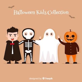 Halloween-artansammlung im flachen design
