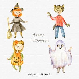 Halloween-arten sammlung in aquarell