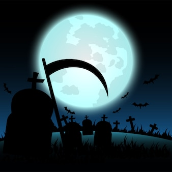 Halloween auf blauem mondhintergrund