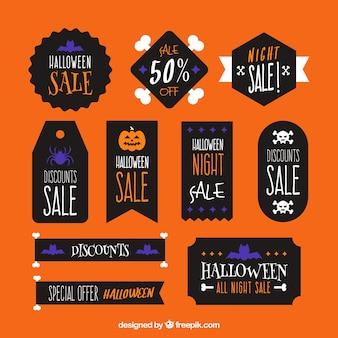 Halloween-aufkleber mit schwarzem hintergrund