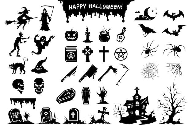 Halloween-aufkleber. schwarze silhouetten von monstern, objekten, elementen und symbolen in großer sammlung.