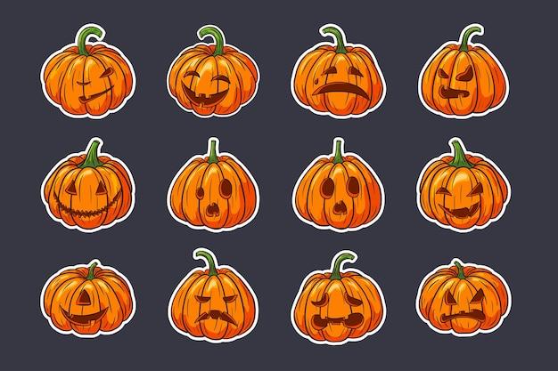 Halloween-aufkleber-set gruselige kürbisse mit gesichtern. sammlung von kürbislaternenillustrationen für herbstferiengrußkarten, einladungen, verpackungsdesign, dekoration. premium-vektor