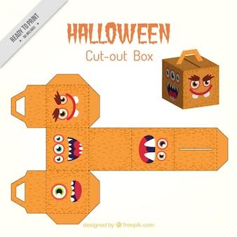 Halloween ausschneiden schönen box mit gesichtern