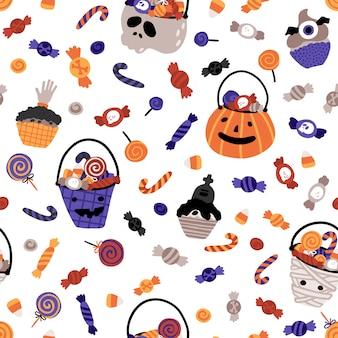 Halloween baby eimer mit süßigkeiten nahtloses muster.