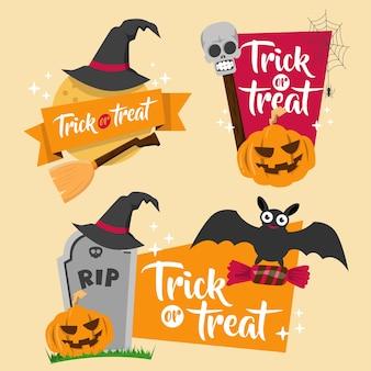 Halloween-banner-abzeichen-set
