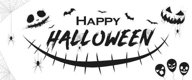 Halloween-banner-design mit gruseligem lächeln-charakter happy halloween-textbanner