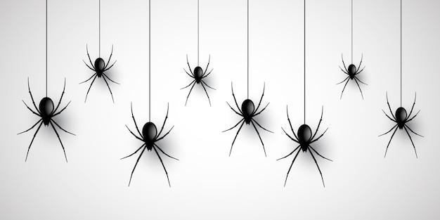 Halloween banner design mit hängenden spinnen