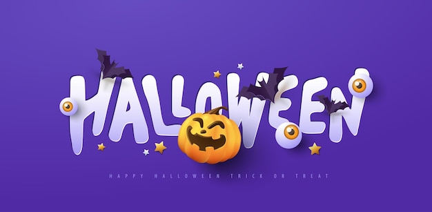 Halloween-banner-design mit papierschnitt-typografie und kürbissen festliche elemente halloween