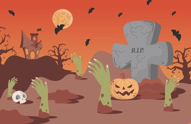 Halloween-banner-hintergrund mit grabsteinen fledermäusen beängstigendes schloss und skelett
