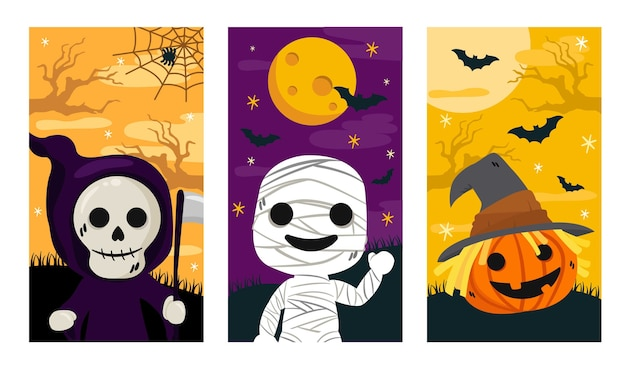 Halloween banner, instagram storie set