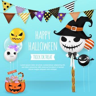 Halloween-banner mit ballons und party-flagge