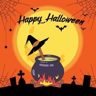 Halloween-banner mit dem eintopf der hexe