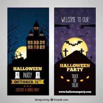 Halloween-banner mit dunkler nachtlandschaft