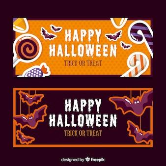 Halloween-banner mit flachem design