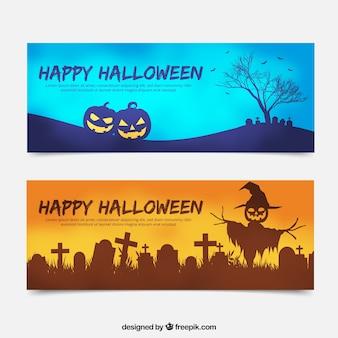 Halloween banner mit friedhof