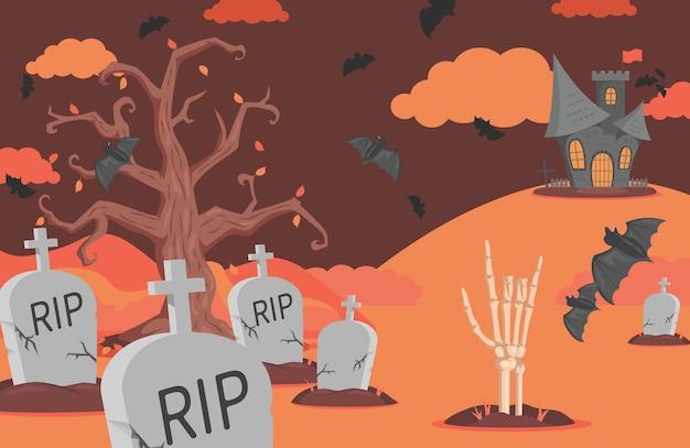 Halloween-banner mit grabsteinen, fledermäusen, unheimlichen schlosswolken und skelett