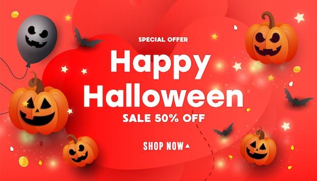 Halloween-banner mit kürbissen, fledermäusen und glitzer-sternen