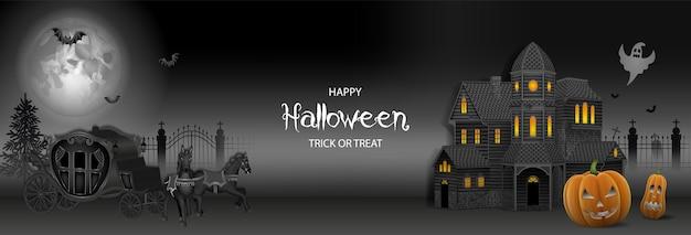 Halloween-banner mit spukhaus-kürbissen und alter kutsche mit pferden