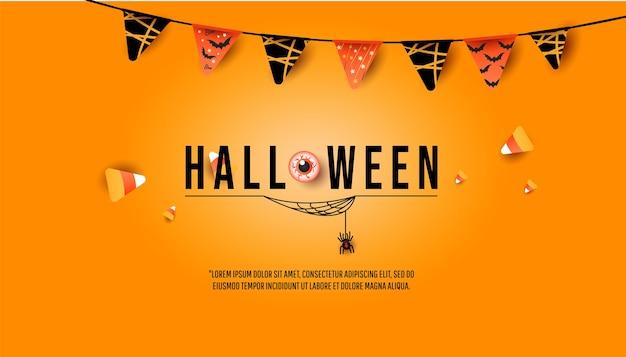 Halloween-banner, partyeinladungskonzept. kreatives trendiges dekor mit flaggengirlande, bunten bonbons, spinne mit spinnweben auf minimalem orangefarbenem hintergrund