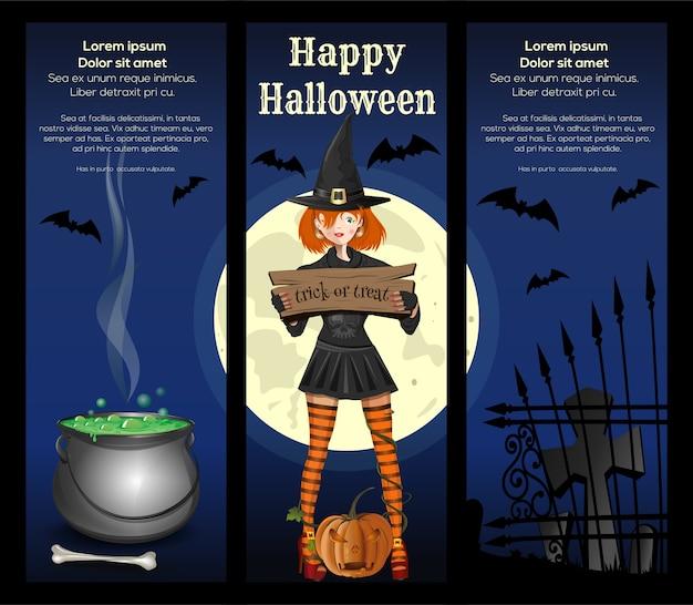 Halloween banner set. halloween-entwurf mit entwurf mit einem niedlichen mädchen in einem hexenanzug gegen den vollmond. süßes oder saures.