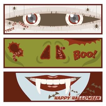 Halloween-banner-set mit augen der mama