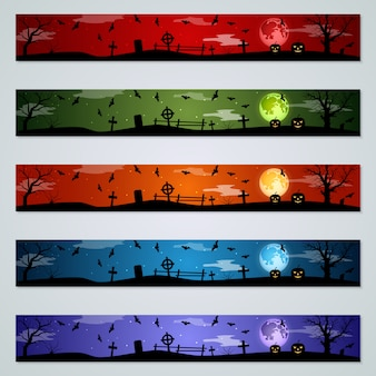 Halloween banner vektor festgelegt