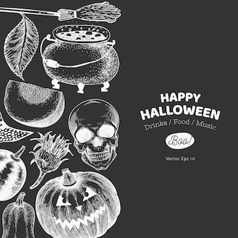 Halloween banner vorlage. hand gezeichnete illustrationen auf kreidetafel. mit kürbissen, schädel, kessel und sonnenblume retro-stil.
