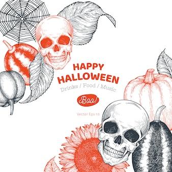 Halloween banner vorlage. hand gezeichnete illustrationen. mit kürbissen, schädel, kessel und sonnenblume retro-stil.