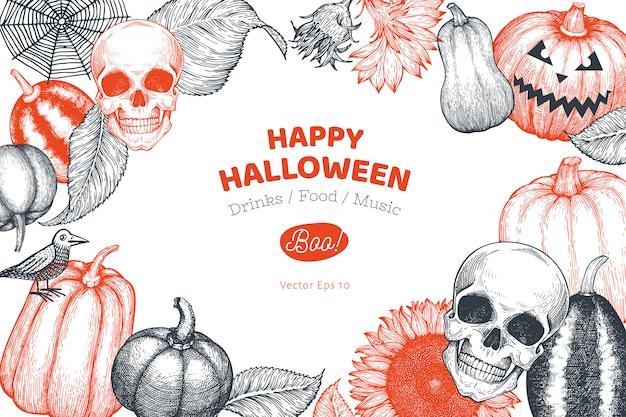 Halloween banner vorlage. hand gezeichnete illustrationen.