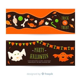 Halloween-banner-vorlagen mit geistern und süßigkeiten