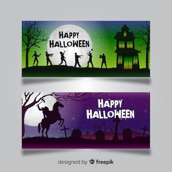 Halloween-banner-vorlagen mit zombies