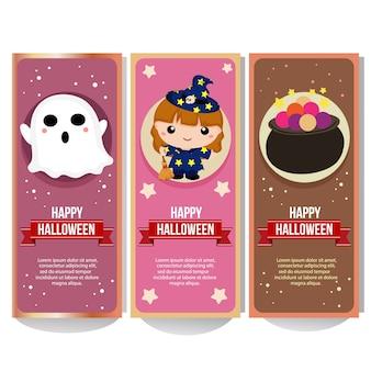 Halloween-bannersammlung mit entzückender kinderhexe
