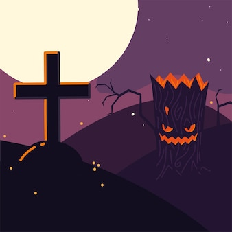 Halloween-baum und kreuz