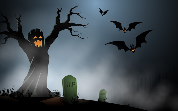 Halloween-baummonster am nebeligen grab