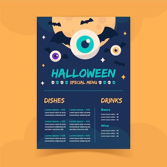 Halloween beängstigende menüvorlage