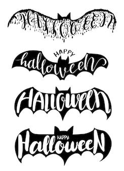 Halloween-beschriftung auf fledermausvektorillustration für halloween-partei, halloween-elementeinladungskarte, plakat und druckaufkleber