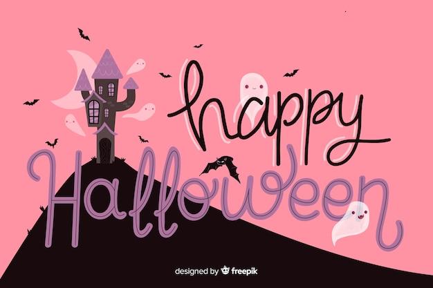 Halloween-beschriftung mit verlassenem haus