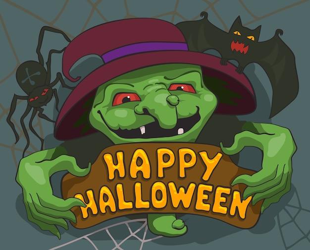 Halloween böse hexenfahne oder grußkarte.