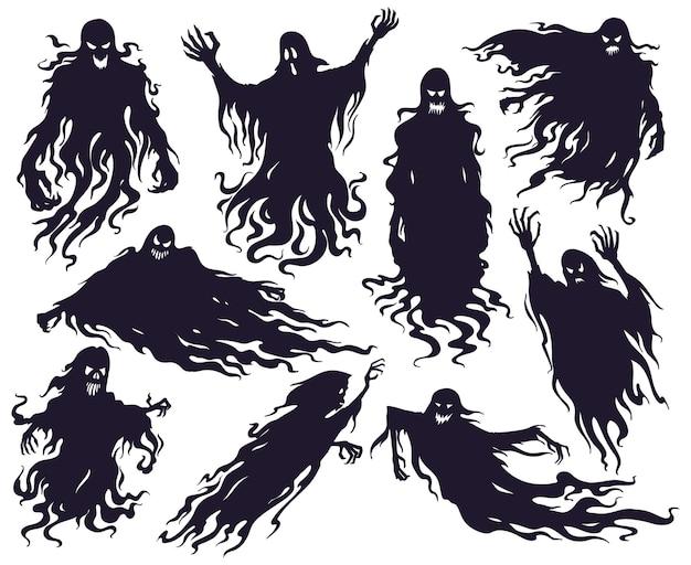 Halloween böser geist silhouette. gruselige alptraum-geistercharaktere, gruselige phantomdämonen-maskottchen-vektorillustrationssatz. cartoon-geister-silhouetten. angst vor halloween, teuflisch erschreckende silhouette