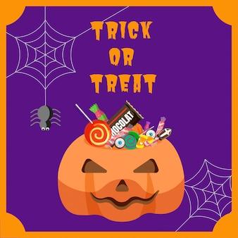 Halloween-bonbon im kürbiseimer