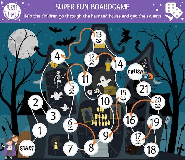 Halloween-brettspiel für kinder mit spukhaus und süßen kindern. pädagogisches brettspiel mit schläger, skelett, geist. helfen sie den kindern, die gruselige hütte zum ausdrucken zu durchlaufen.