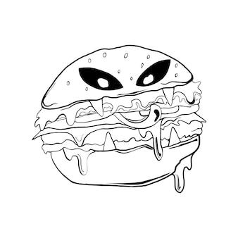Halloween burger schwarz-weiß-illustration für thsirt