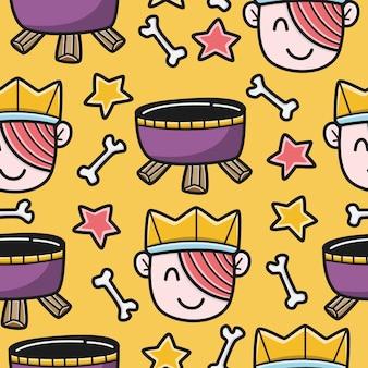 Halloween cartoon doodle kawaii muster design illustration