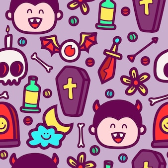 Halloween cartoon gekritzel muster design illustration